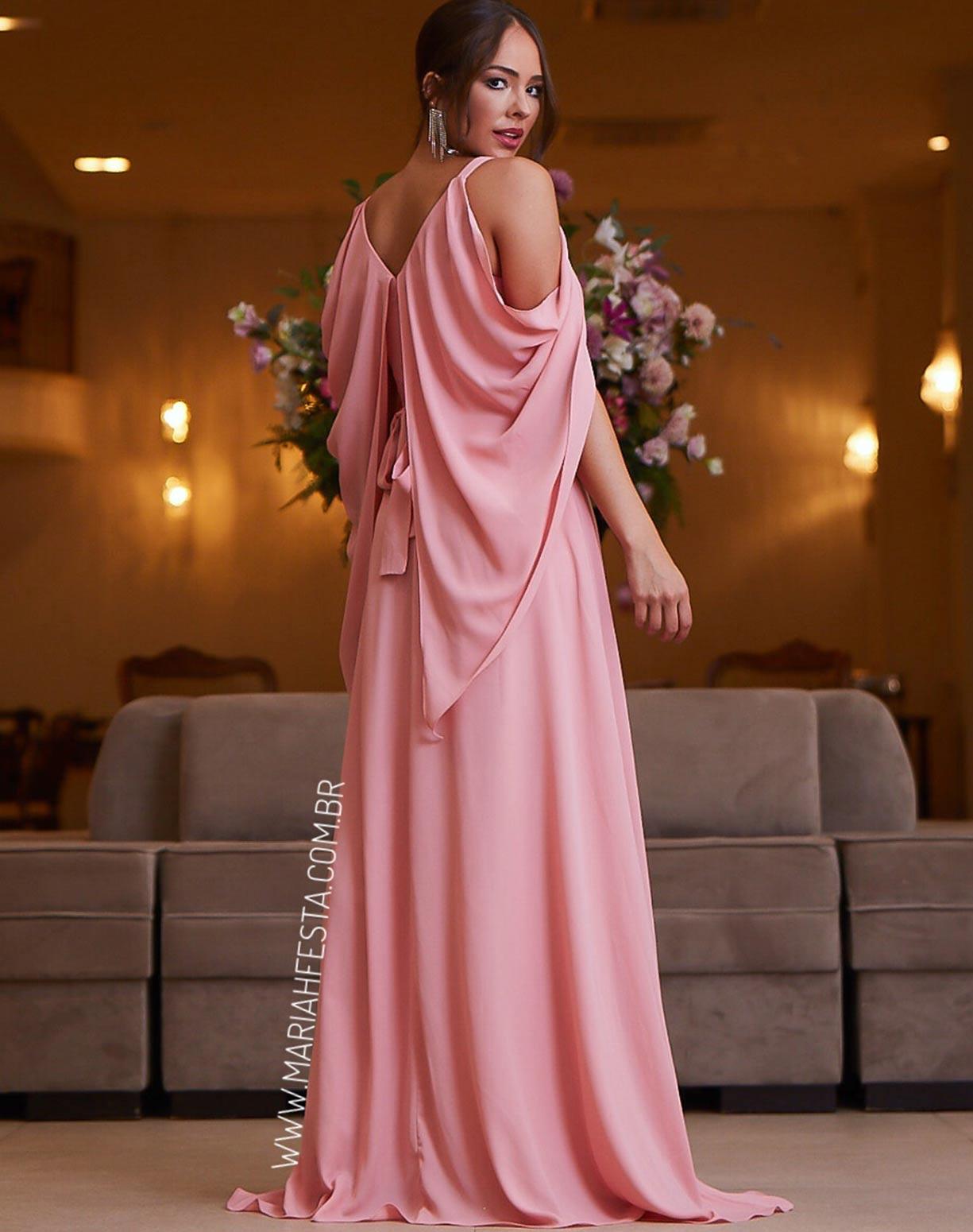 Vestido Rosê Manga Capa Voal