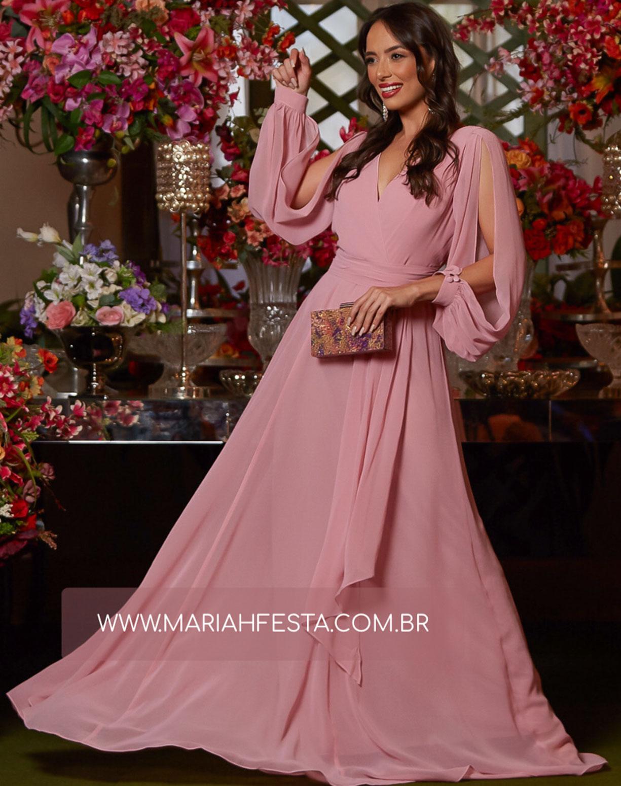 Vestido Rose Manga Longa com Decote nas Costas