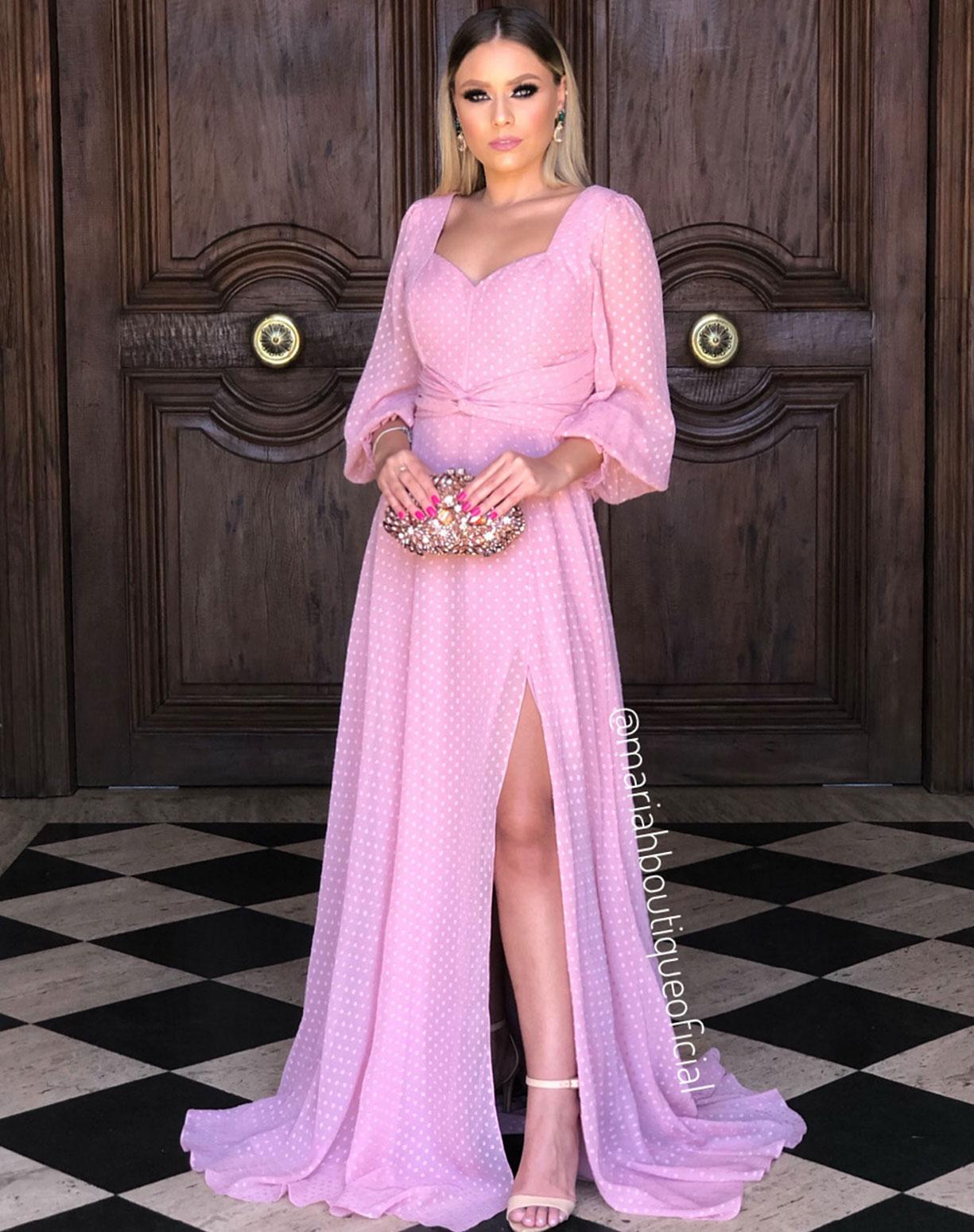 Vestido Rosê  Manga Longa Com Textura em Poá
