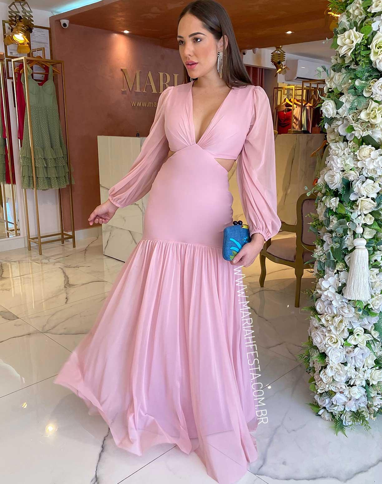 Vestido Rosê Manga Longa em Tule