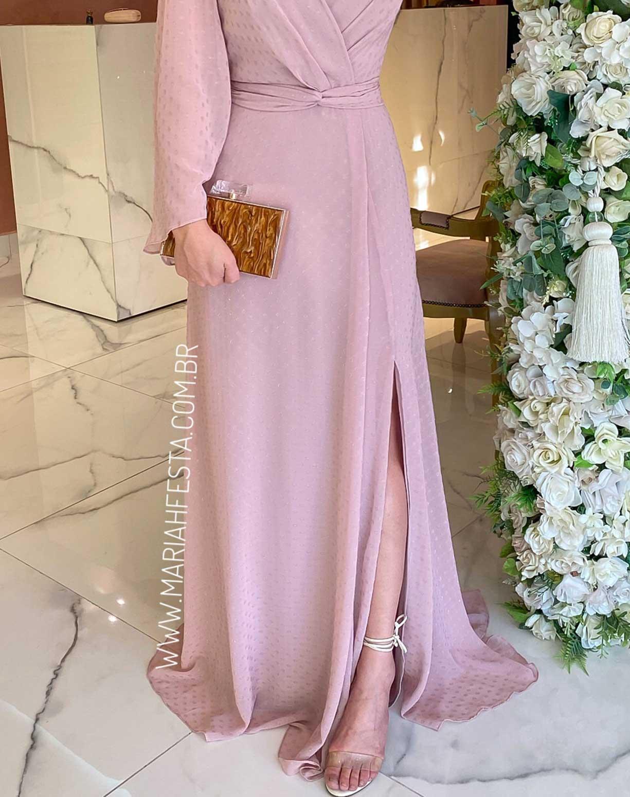 Vestido Rosê Manga Longa Texturizado