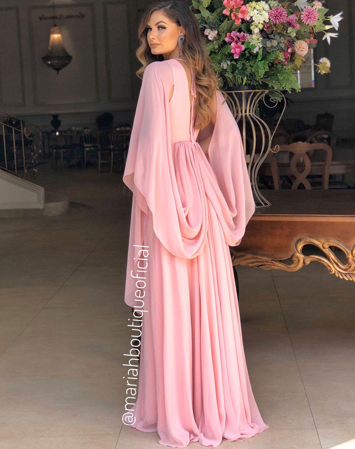 Vestido Rose Manga Voal