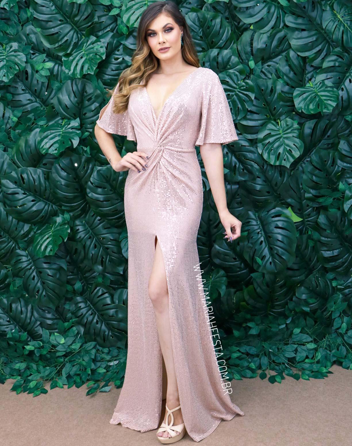 Vestido Rosê Nude com Fenda em Paetê