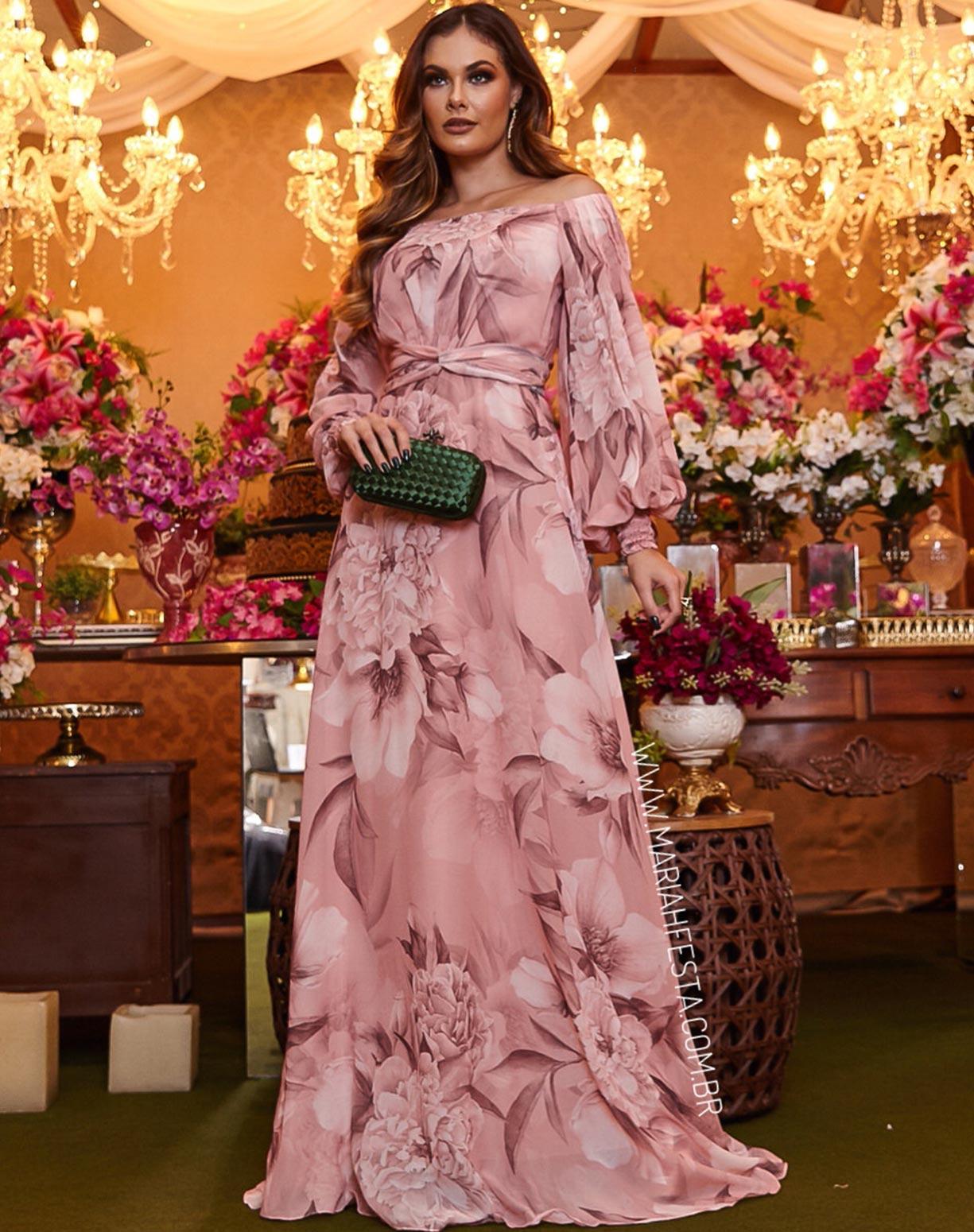 Vestido Rosê Ombro a Ombro Floral