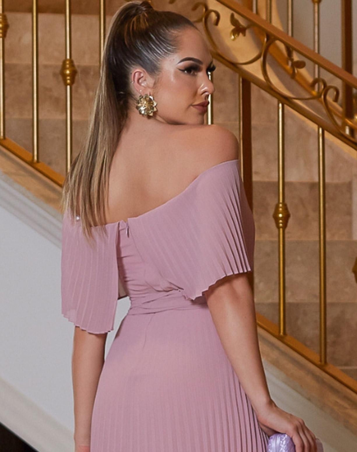 Vestido Rosê Ombro a Ombro Plissado
