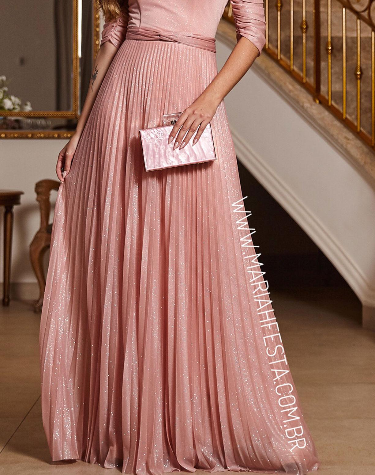 Vestido Rosê Ombro a Ombro Tule Glitter