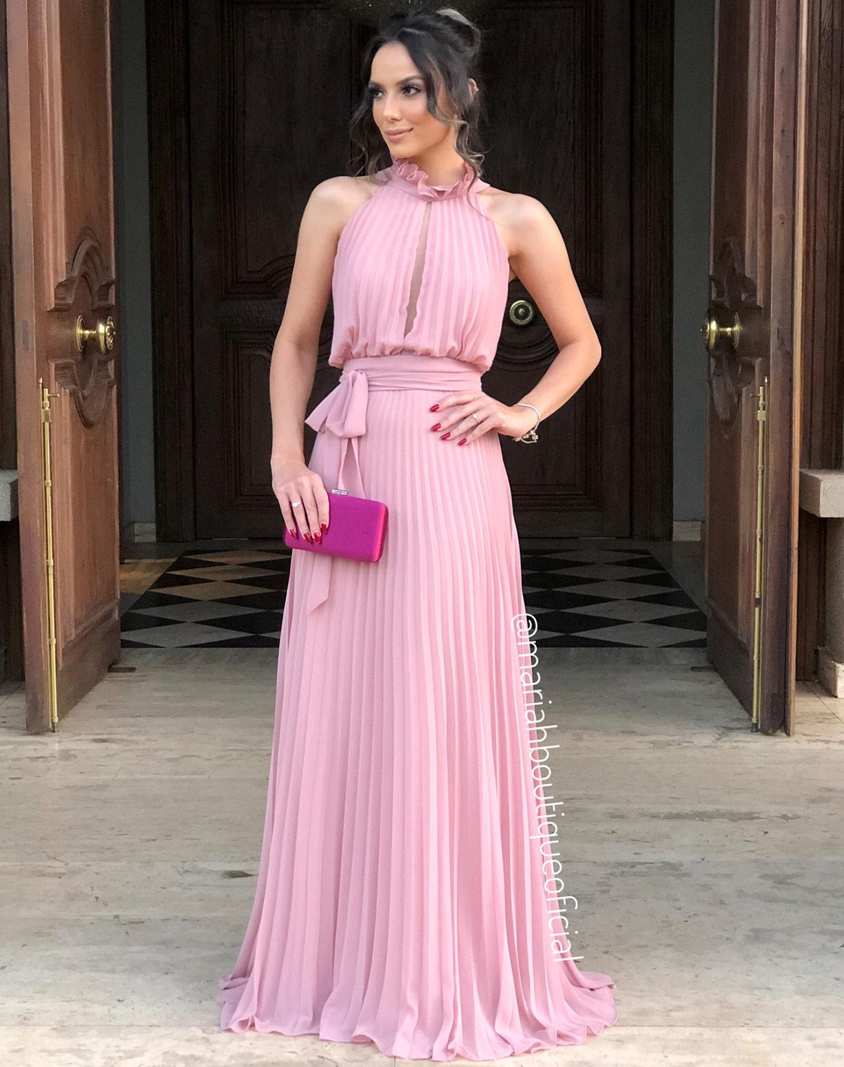 Vestido Rosê Plissado com Gola Alta