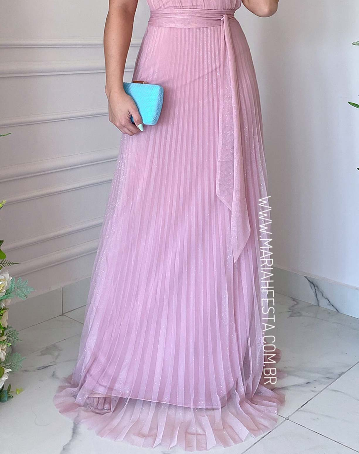 Vestido Rosê Plissado de um Ombro Só