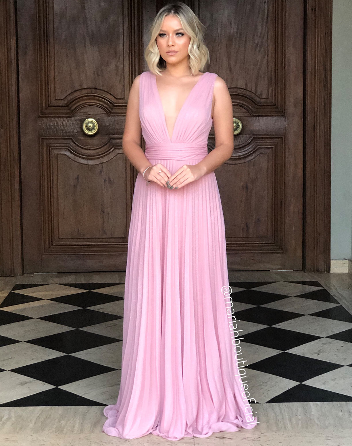 Vestido Rosê Plissado em Tule Glitter