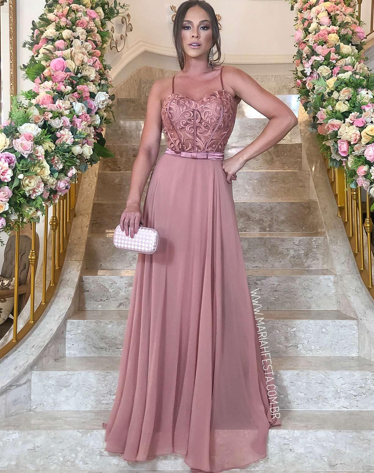 Vestido Rose Queimado com Corpete em Renda