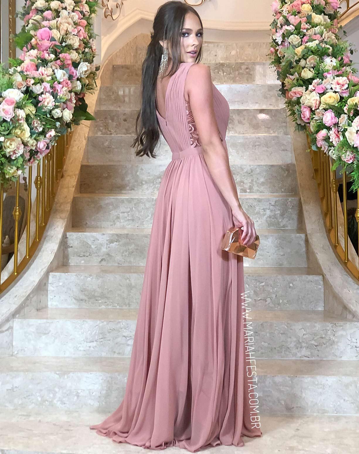 Vestido Rose Queimado com Detalhes em Renda e Saia Voal