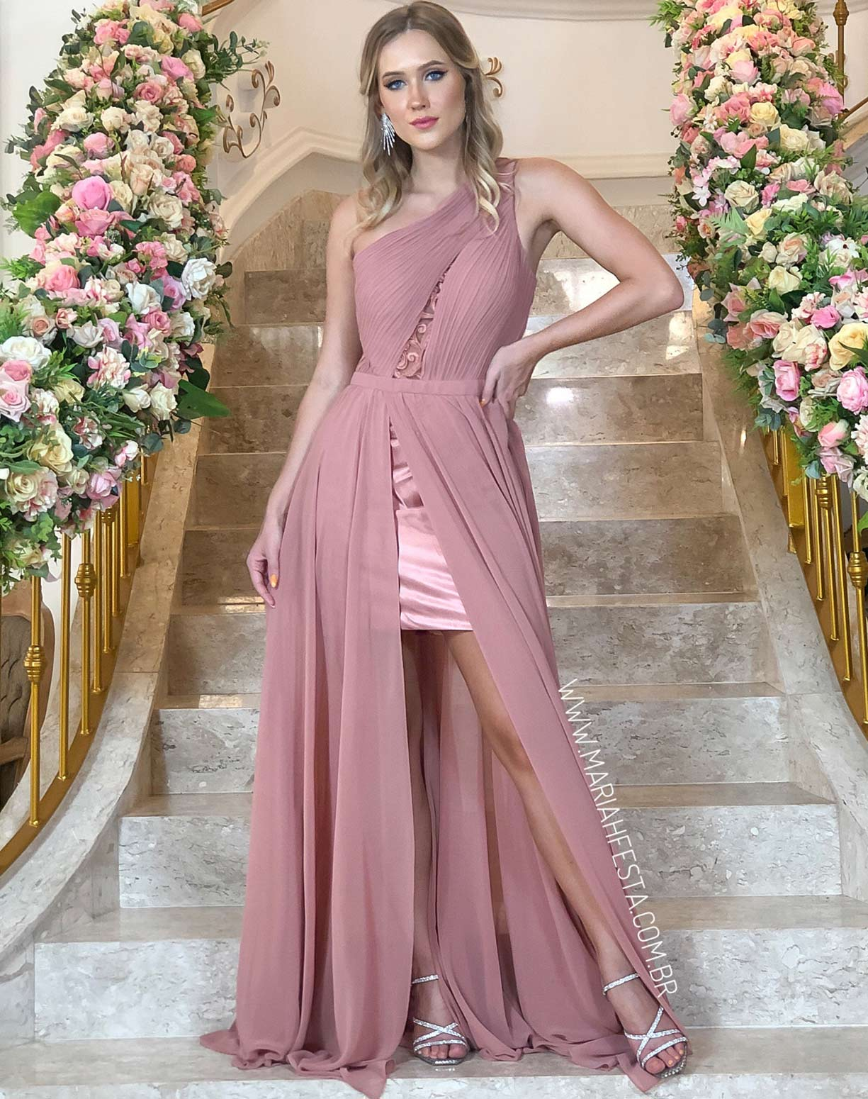 Vestido Rose Queimado de um Ombro Só