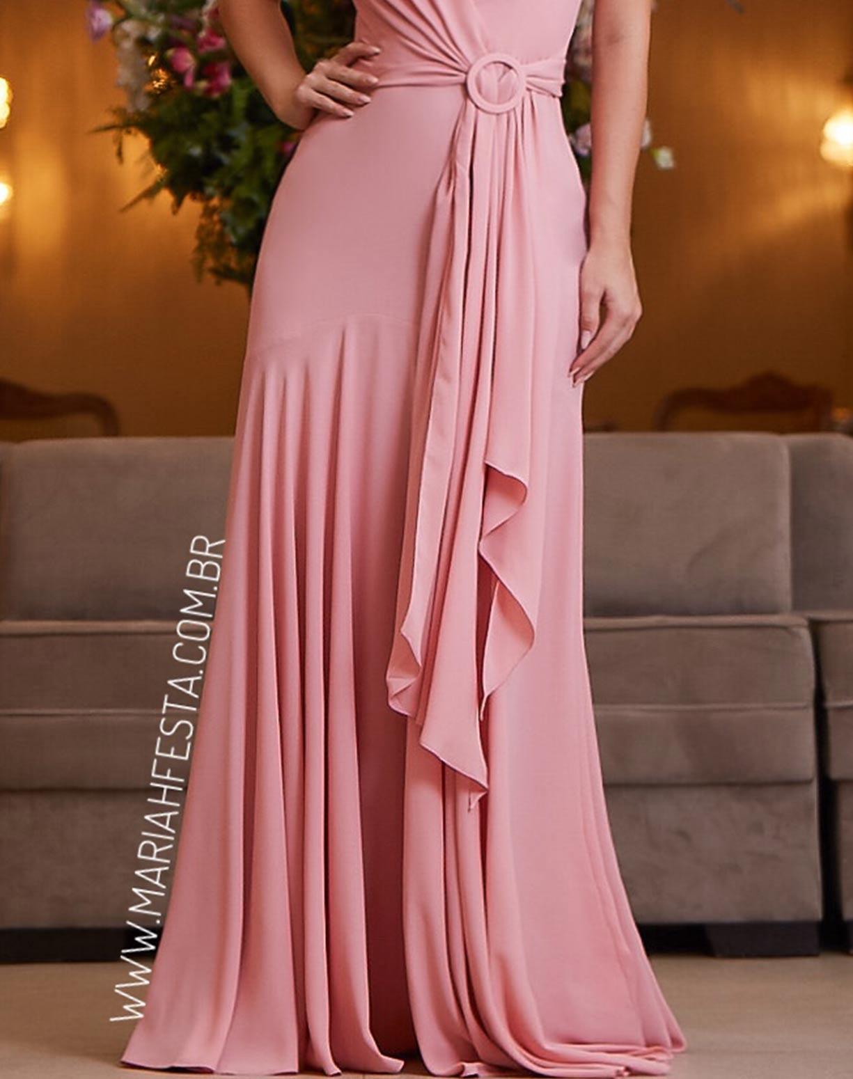 Vestido Rosê Semi Sereia com Decote