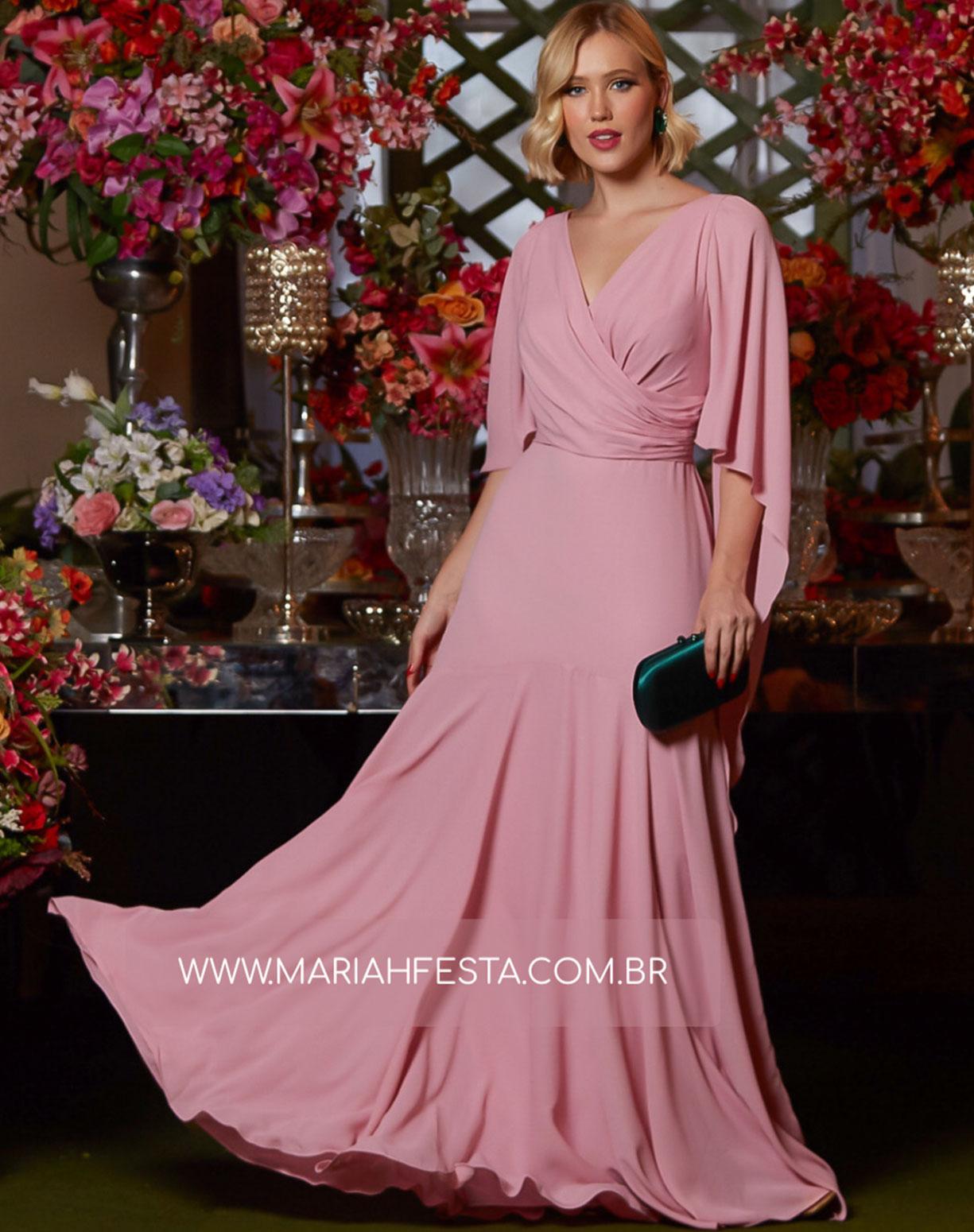 Vestido Rose Semi Sereia com Decote Transpassado