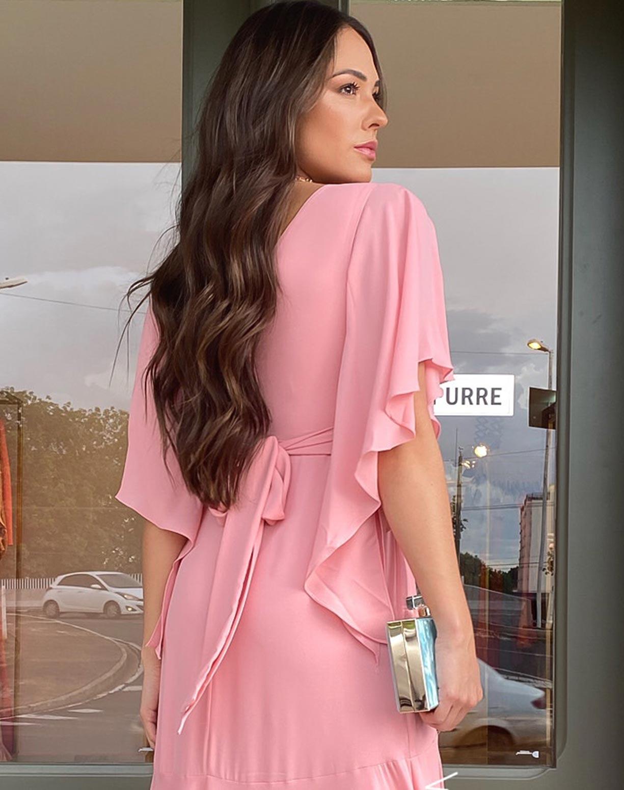 Vestido Rosê Semi Sereia com Manga Voal