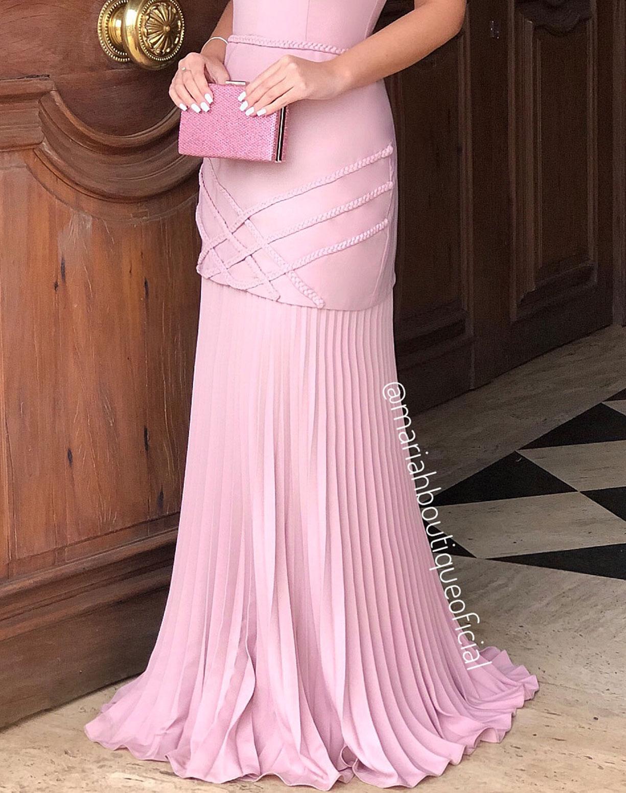 Vestido Rosê Sereia com Barra Plissada