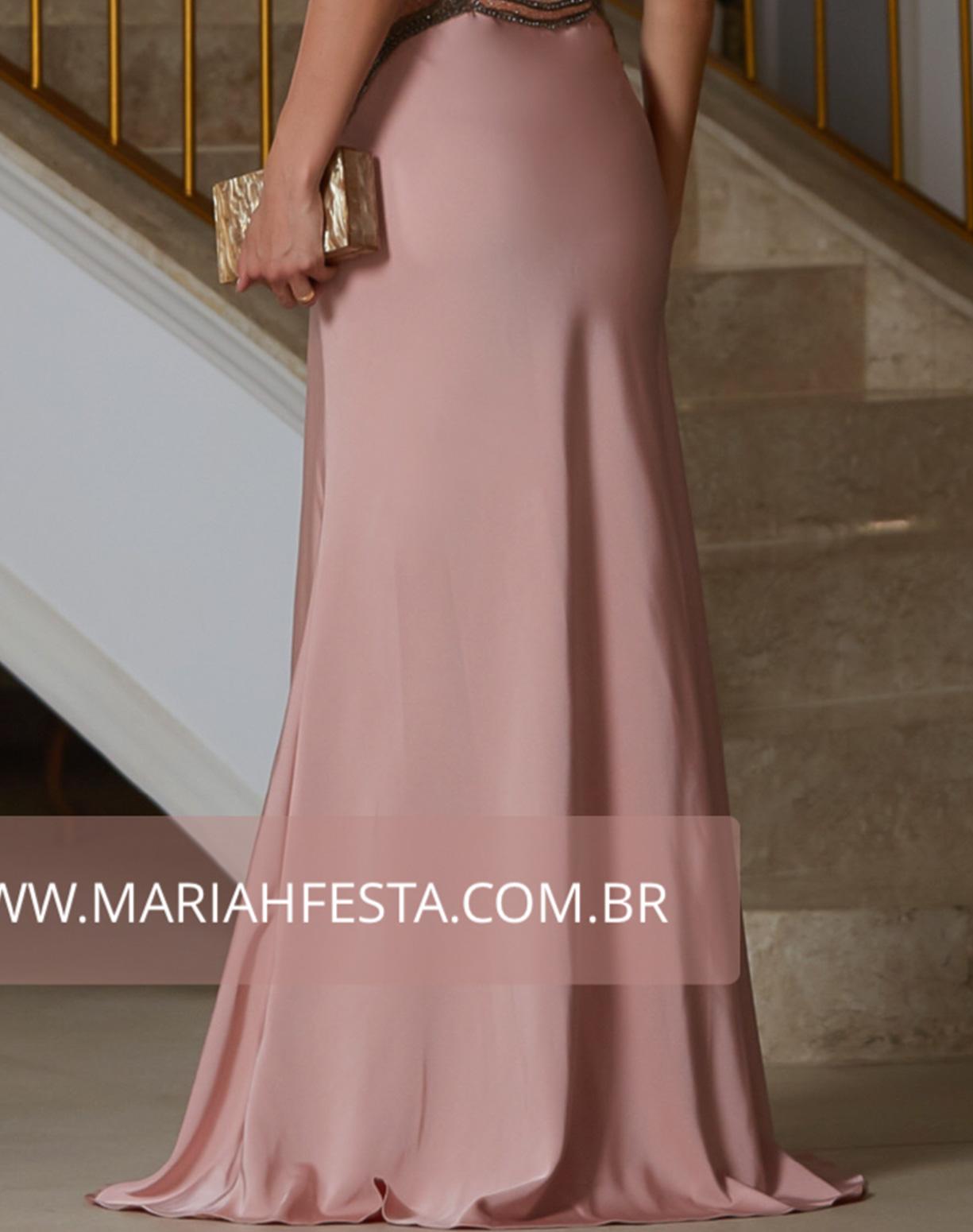 Vestido Rose Sereia com Bordados e Decote nas Costas