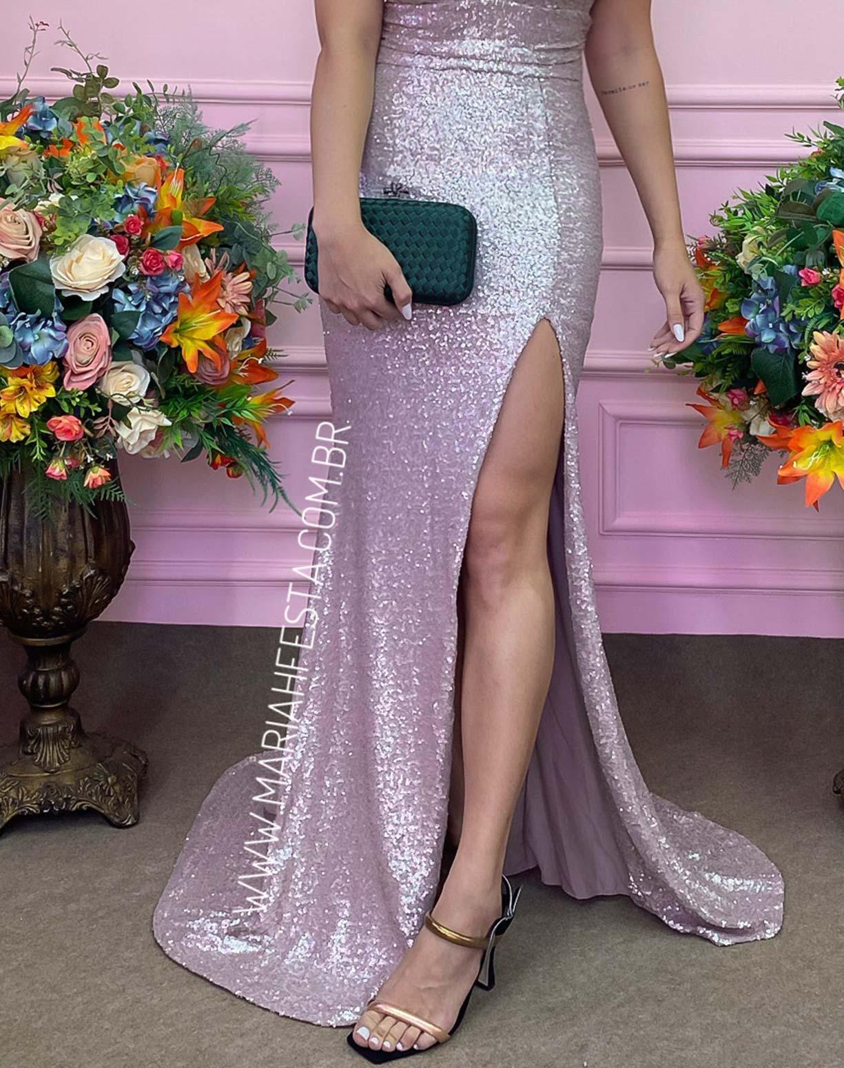 Vestido Rose Sereia com Fenda em Paetê