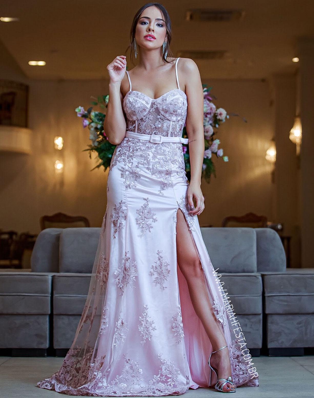 Vestido Rosê Sereia em Renda