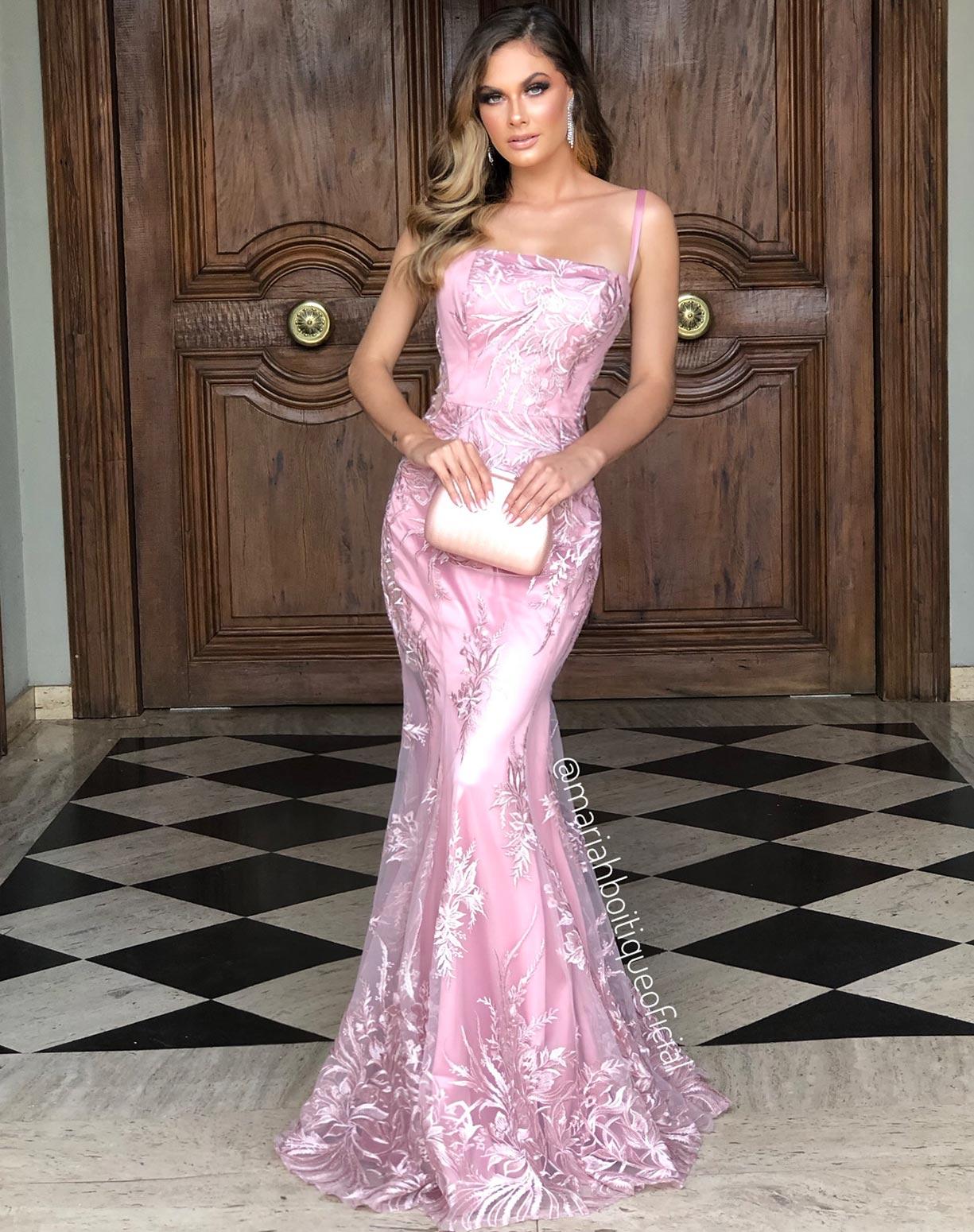 Vestido Rose Sereia em Renda