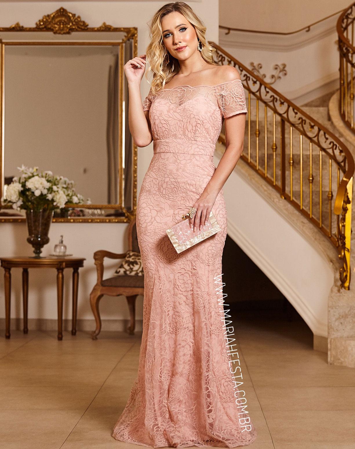 Vestido Rosê Sereia em Renda Decote Ombro a Ombro