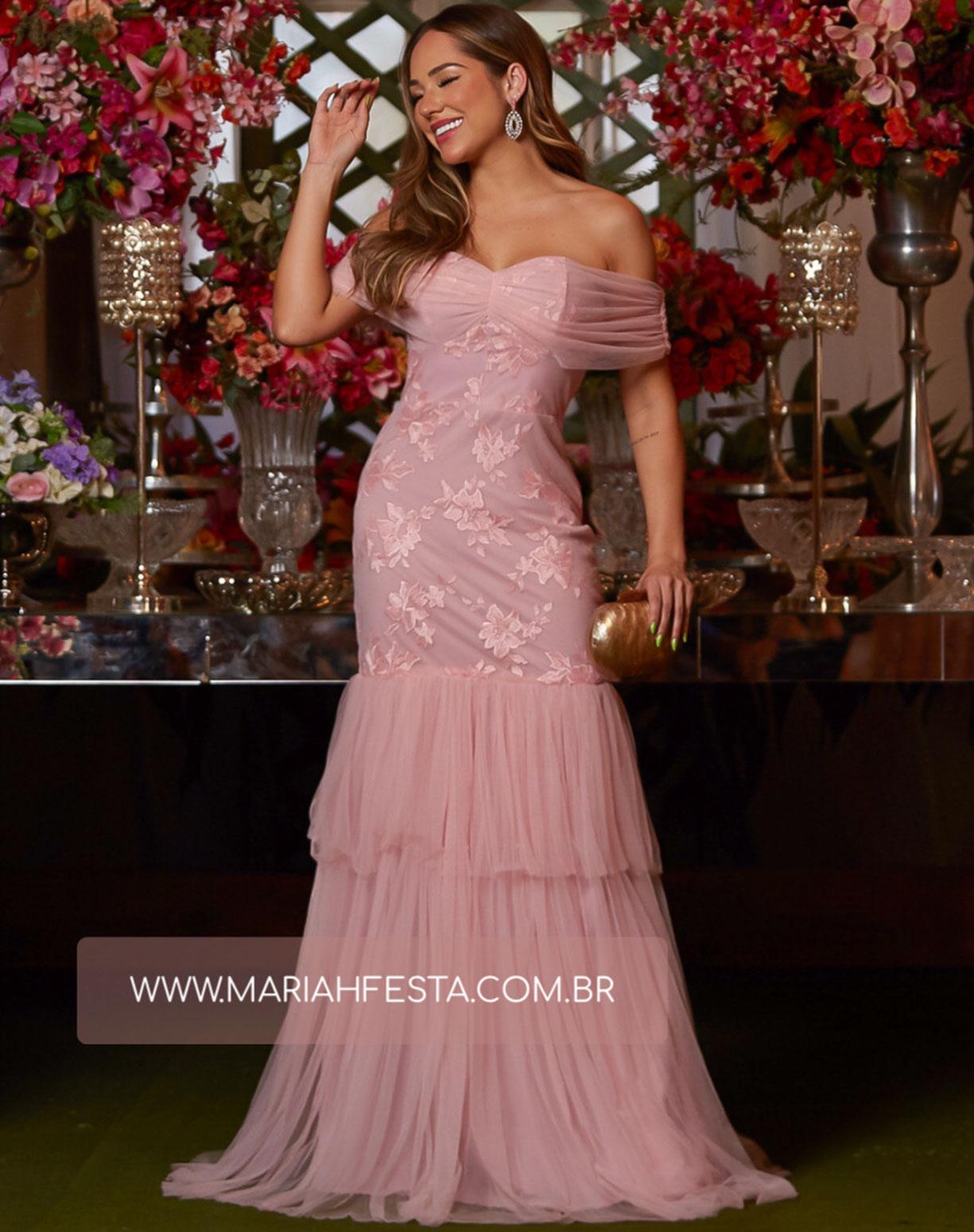 Vestido Rose  Sereia em Tule e Renda