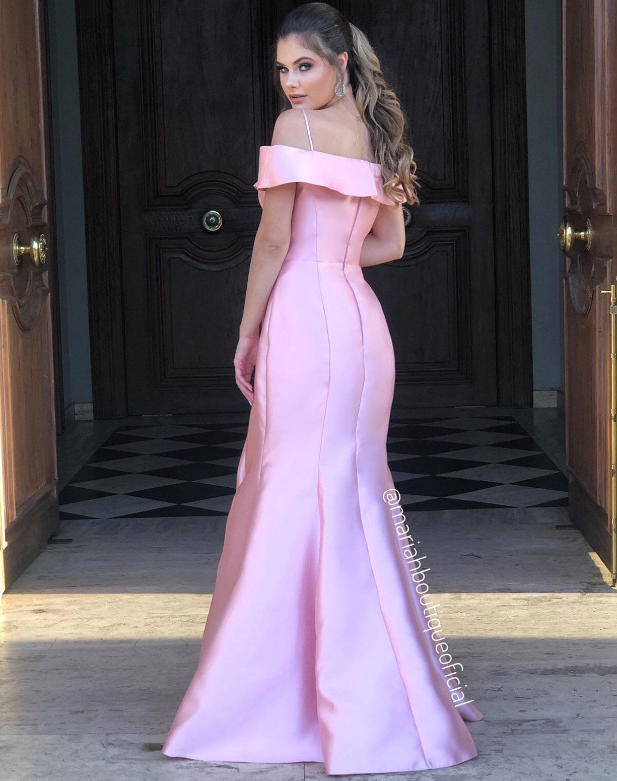 Vestido rose sereia em zibeline
