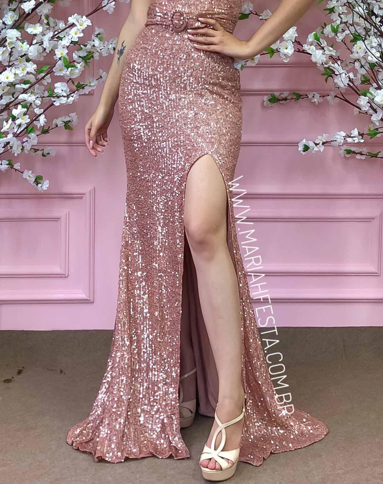 Vestido Rosê Tomara que Caia em Paetê
