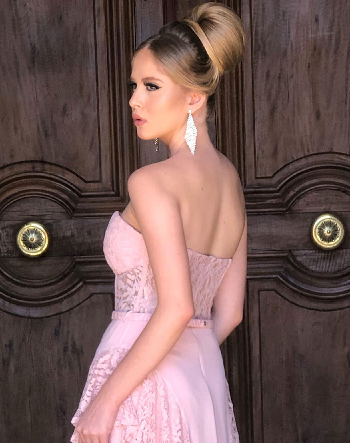 Vestido Rosê Tomara que Caia em Renda