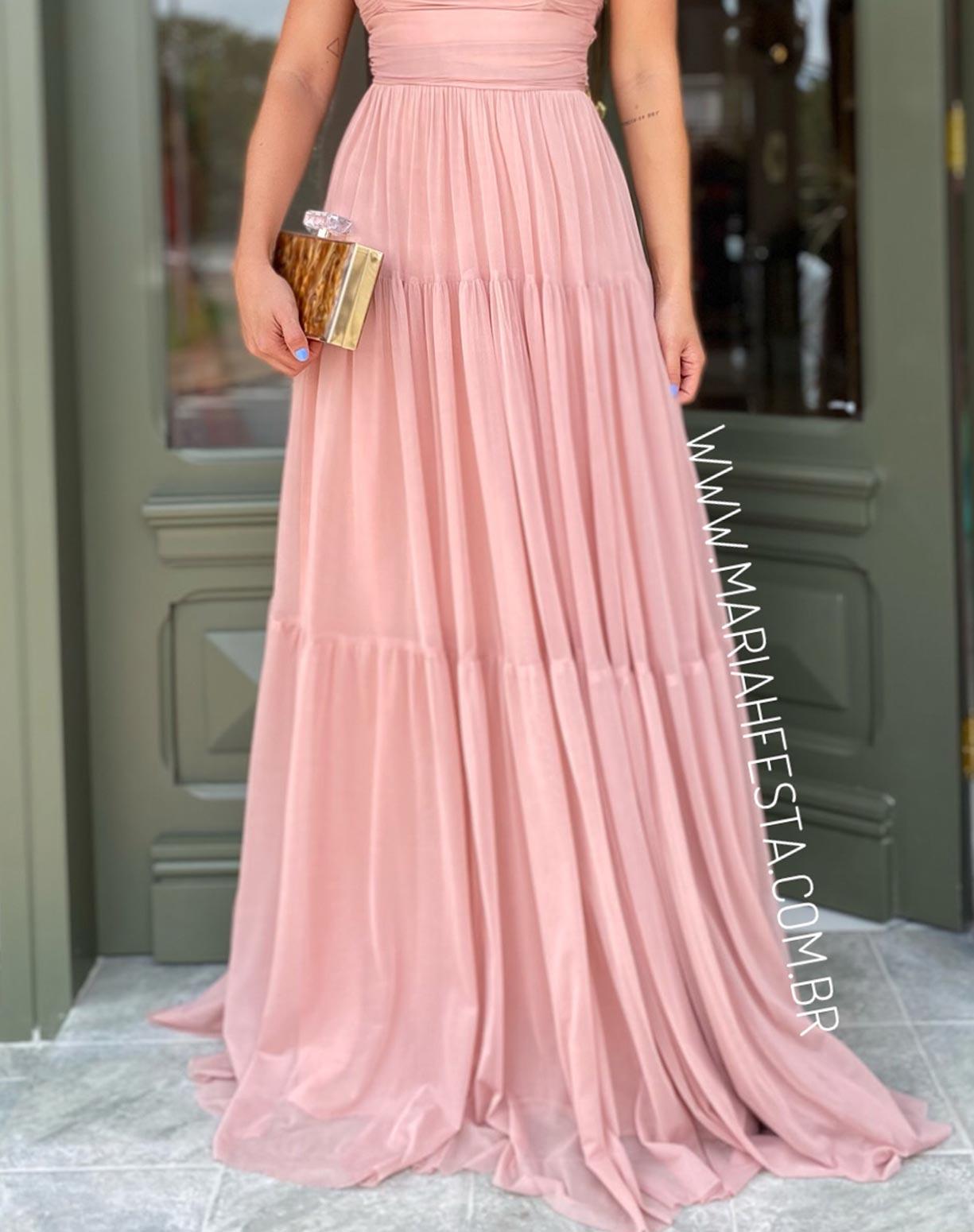 Vestido Rosê Tomara que Caia em Tule