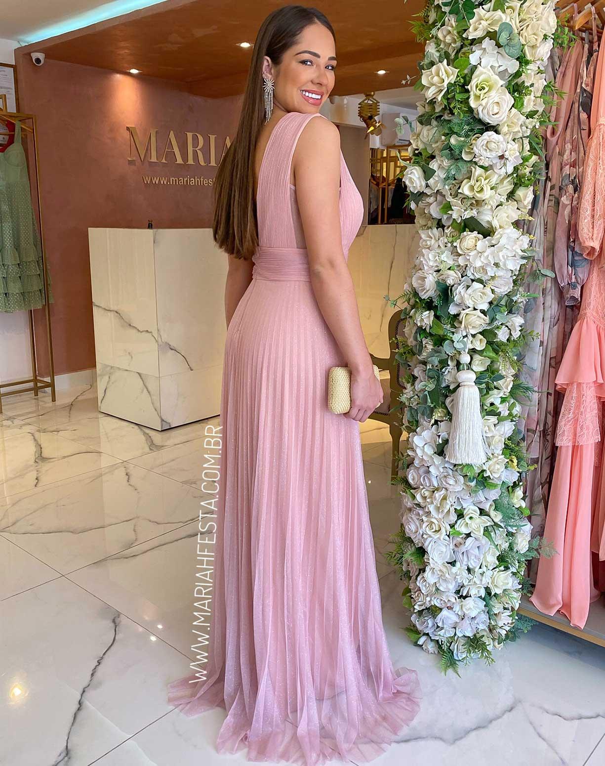 Vestido Rosê Tule Glitter Plissado