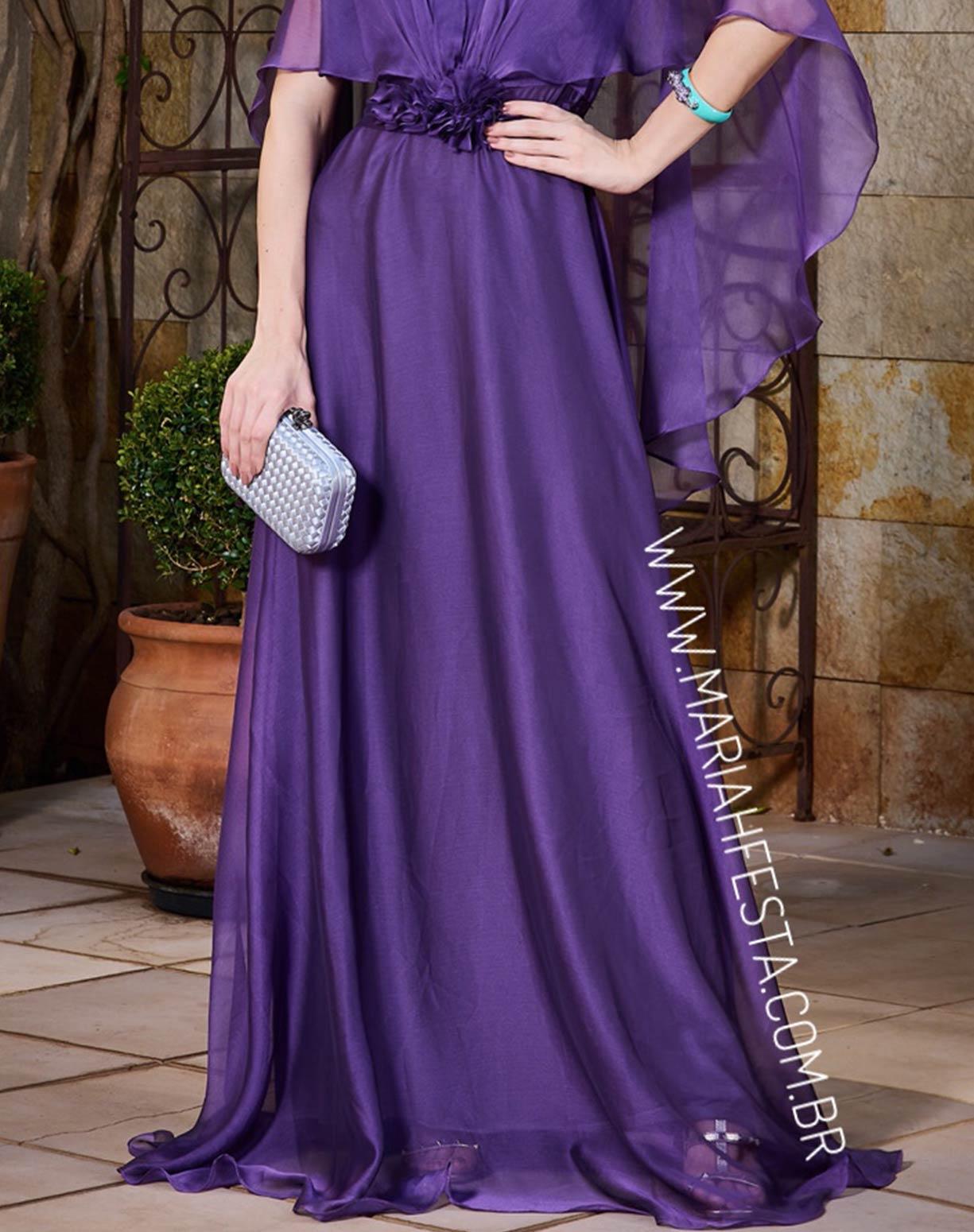 Vestido Roxo em Organza com Aplicação em Flores no Cinto