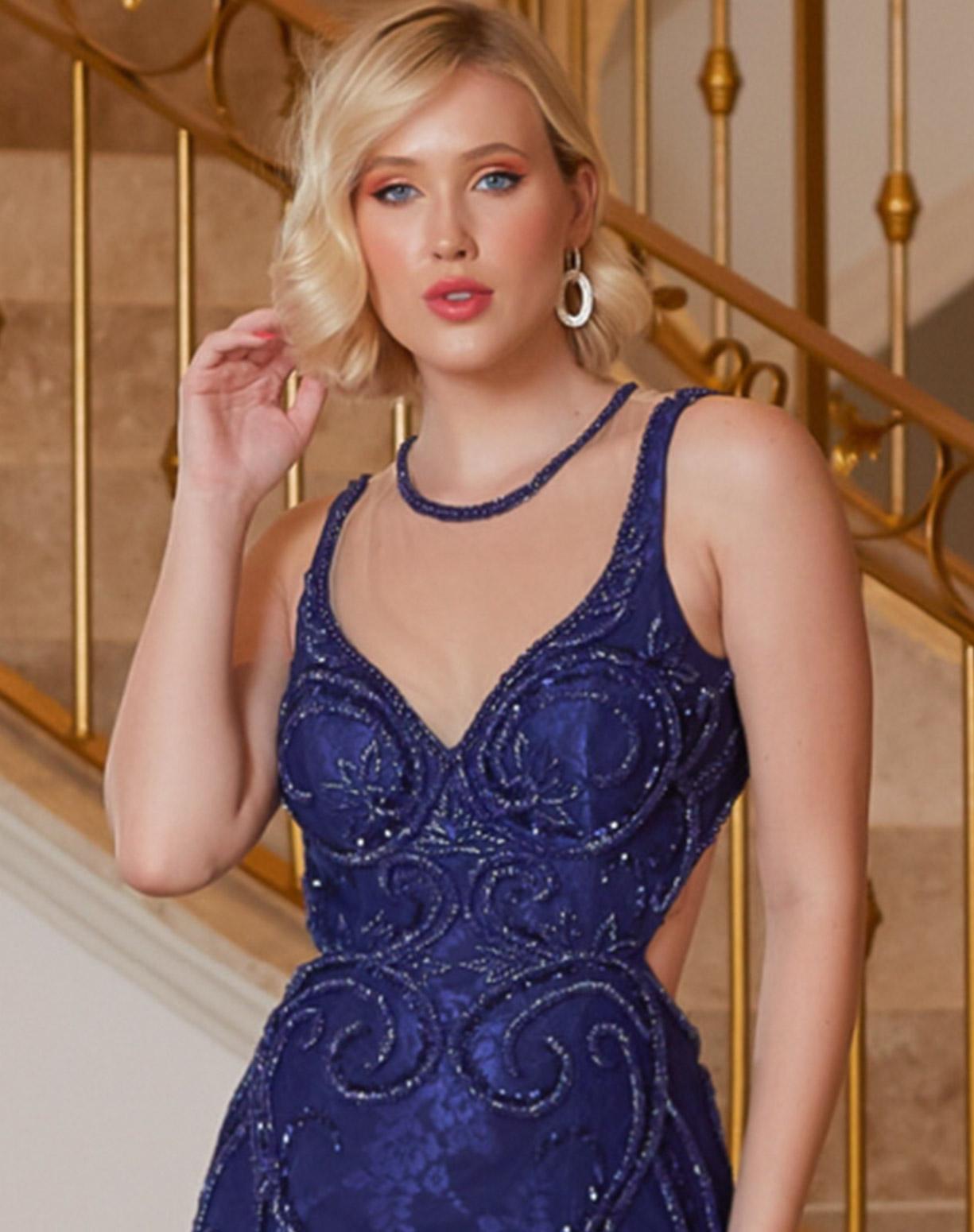 Vestido Sereia Azul Royal Bordado em Tule e Renda