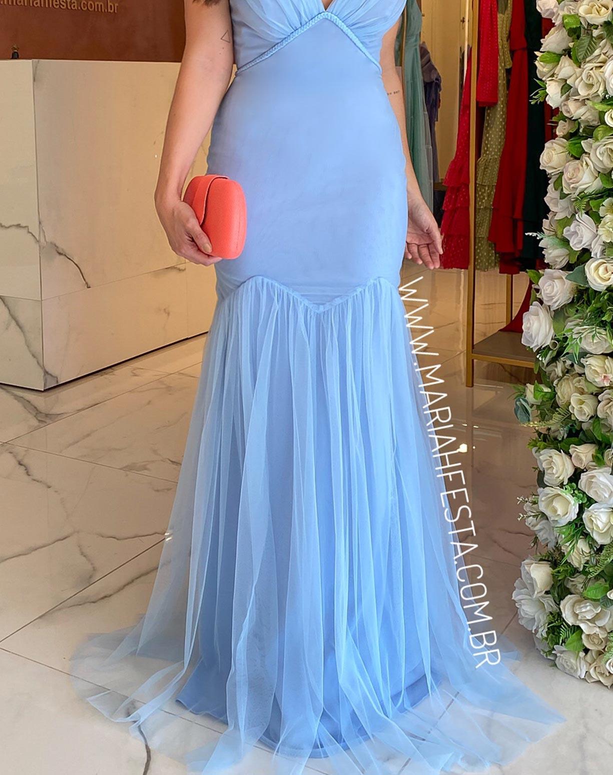 Vestido Sereia Azul Serenity em Tule