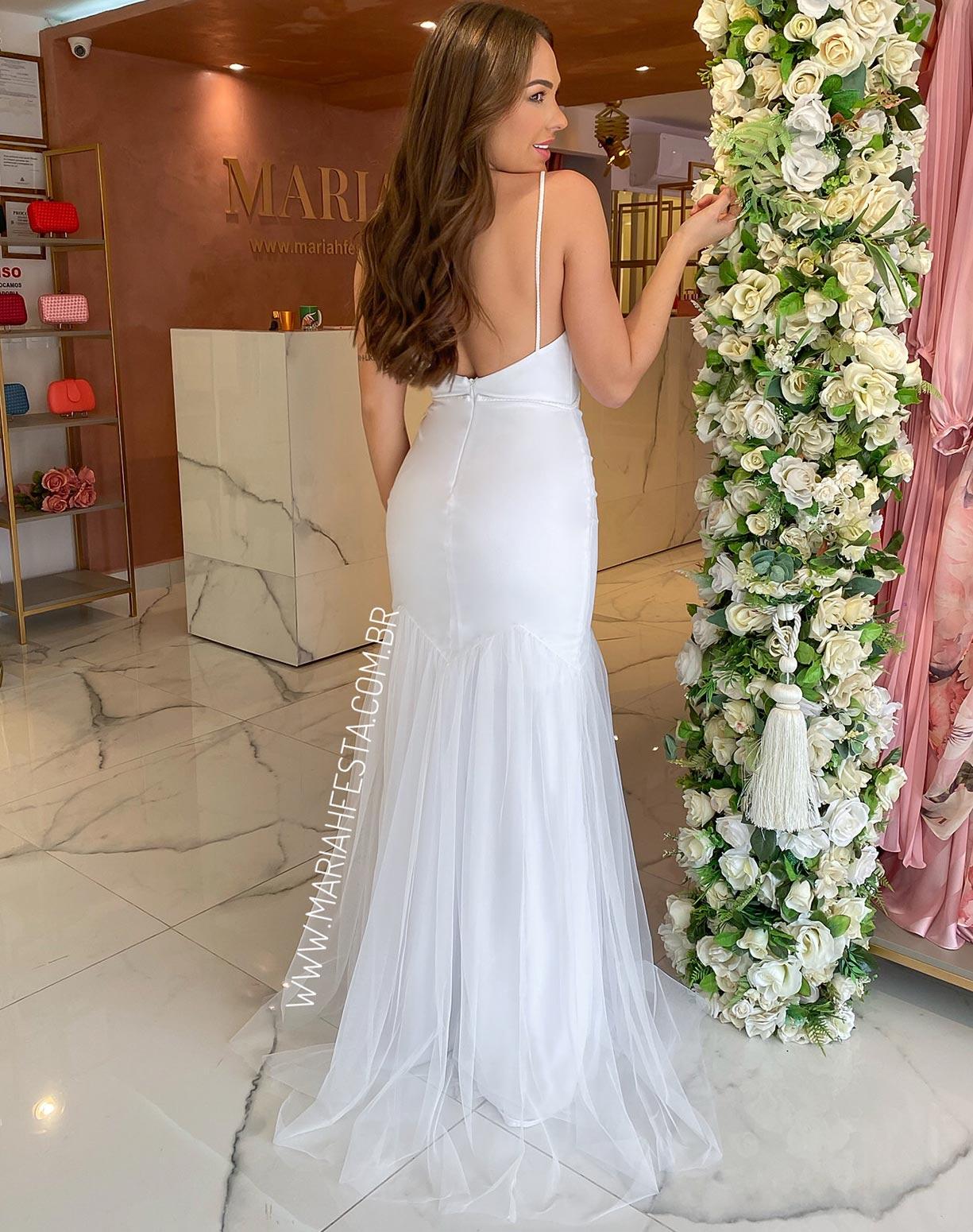 Vestido Sereia Branco em Tule