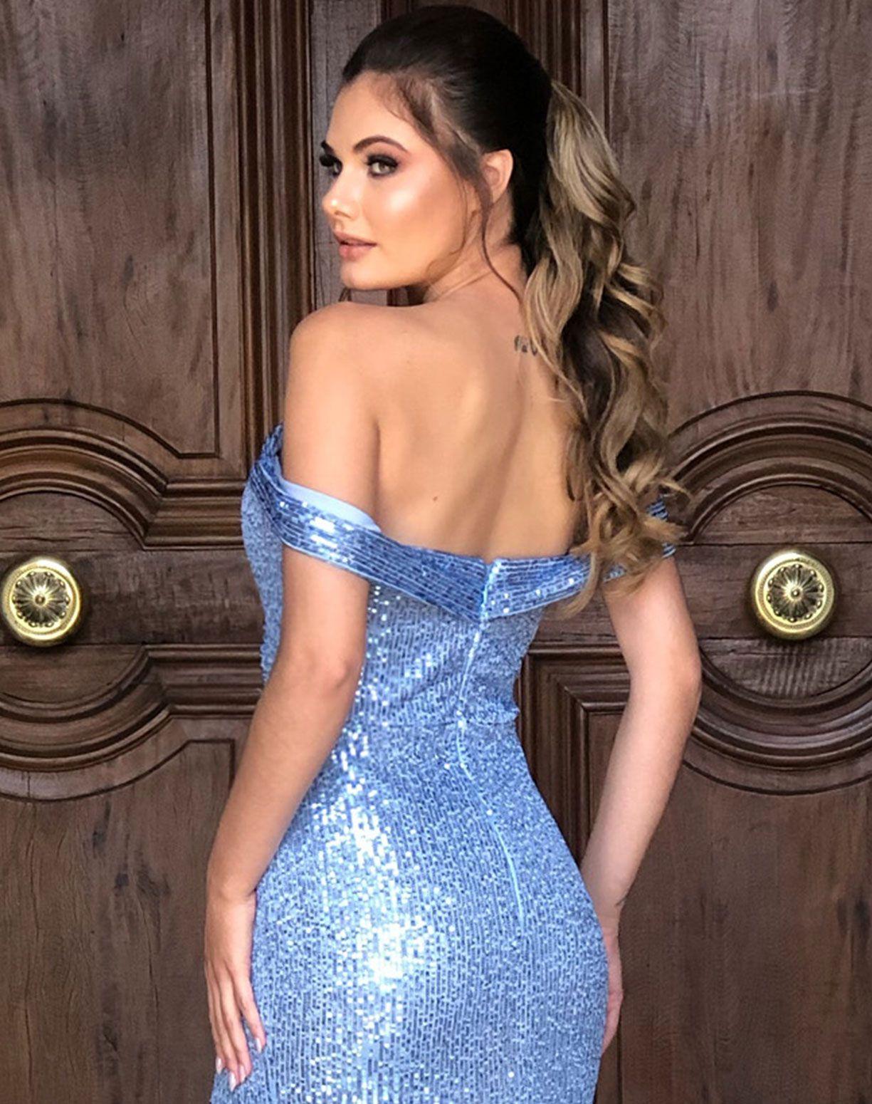 Vestido Azul Serenity Sereia em Paetê