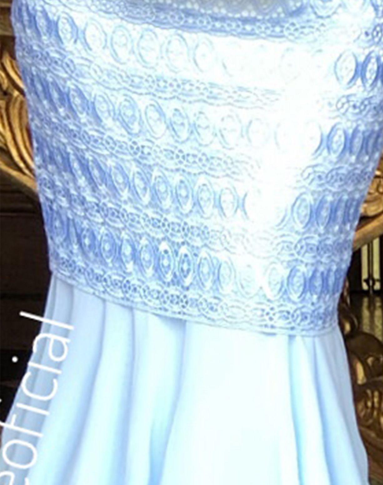 Vestido Azul Serenity Sereia em Renda e Musseline