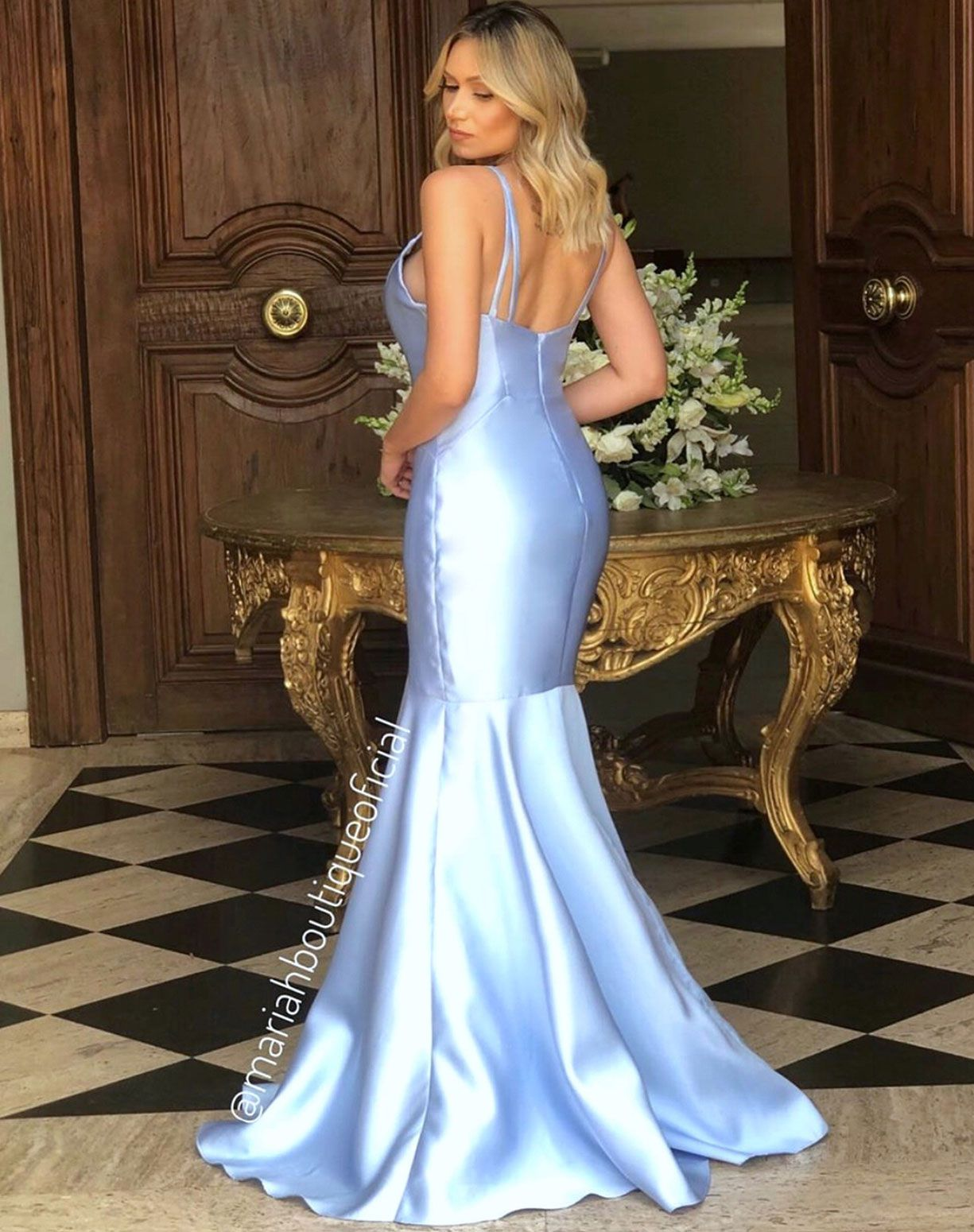 Vestido sereia em zibeline azul serenity
