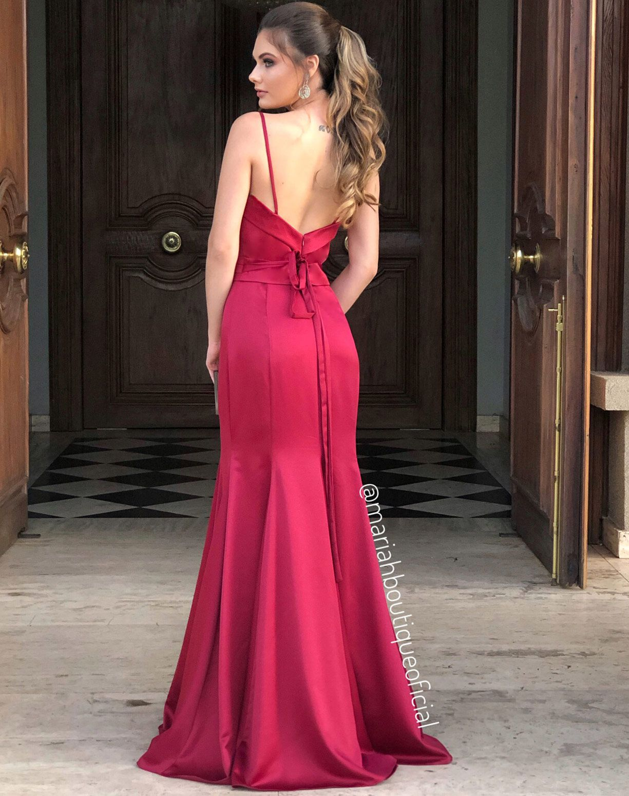 Vestido Sereia Marsala