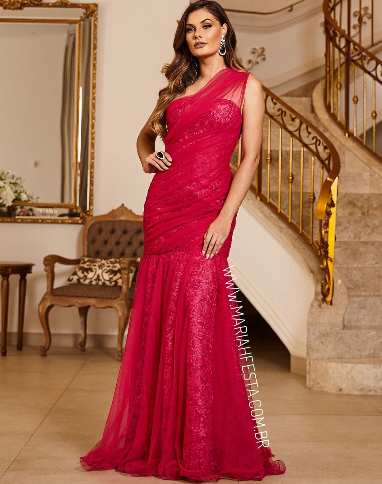 Vestido Sereia Rosa Pink de um Ombro Só em Tule e Renda