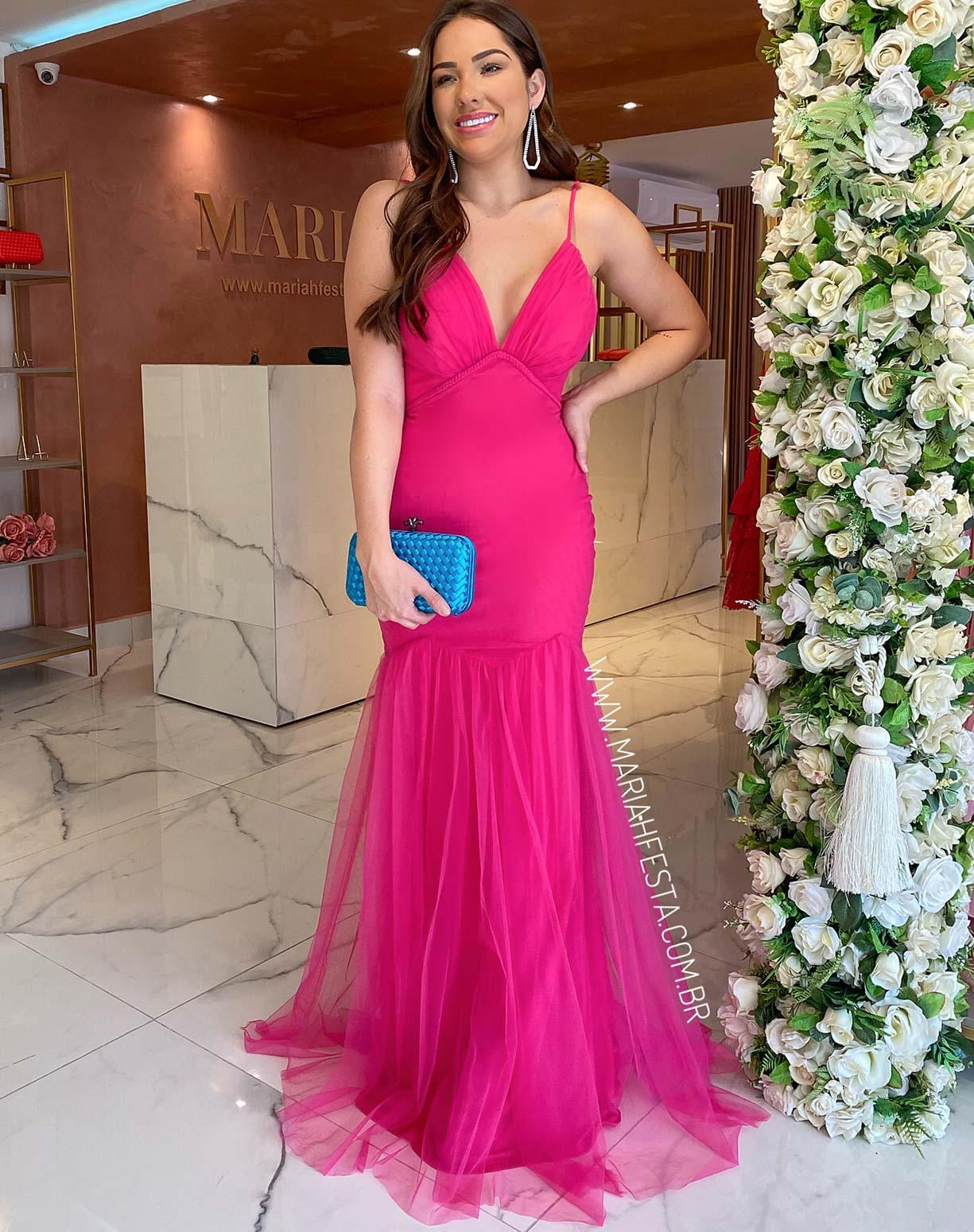 Vestido Sereia Rosa Pink em Tule