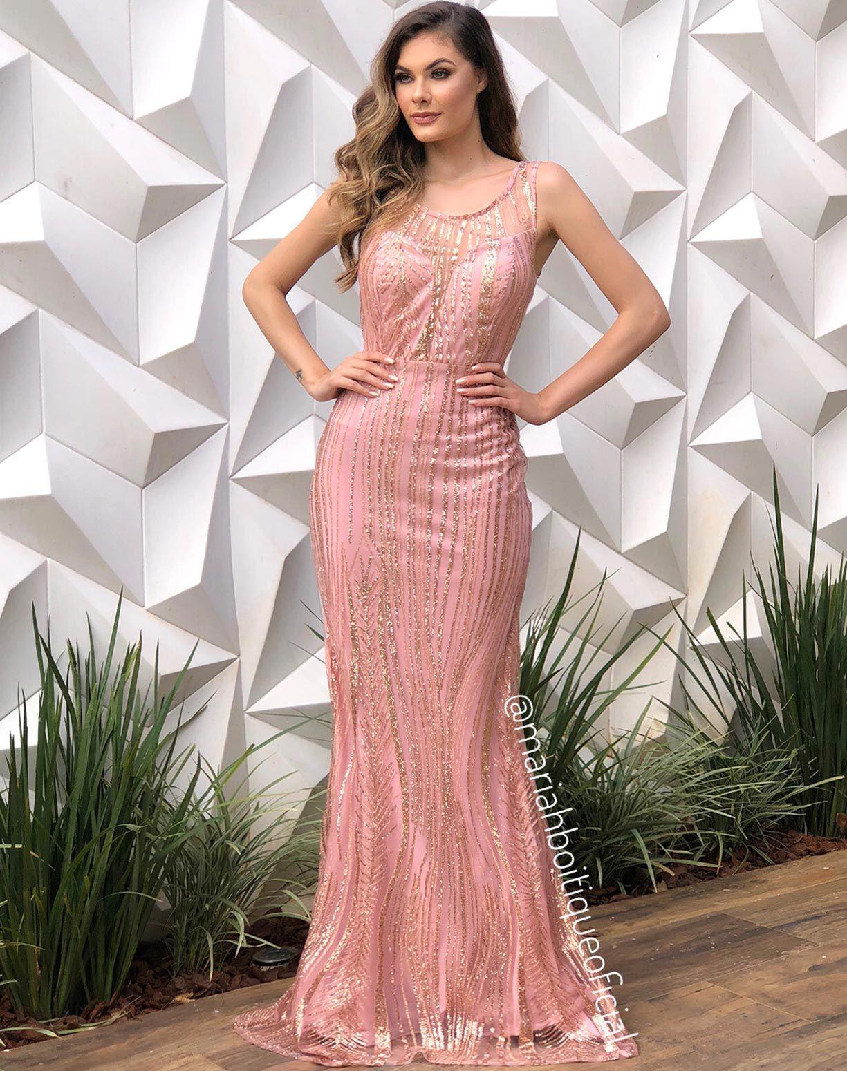 Vestido Sereia Rose Com Glitter