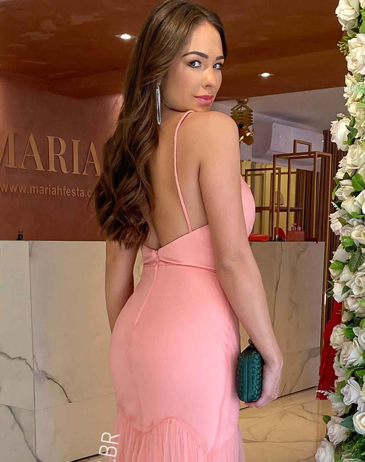 Vestido Sereia Rosê em Tule