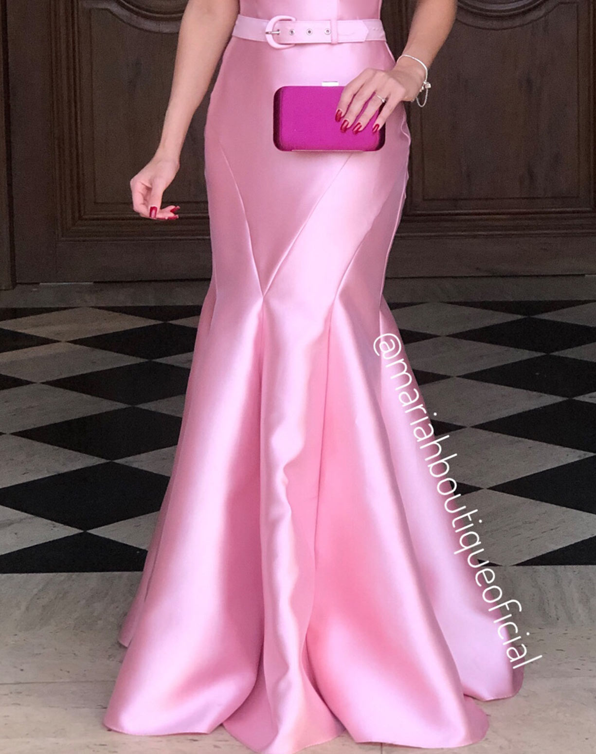 Vestido Sereia Rosê em Zibeline de um Ombro Só