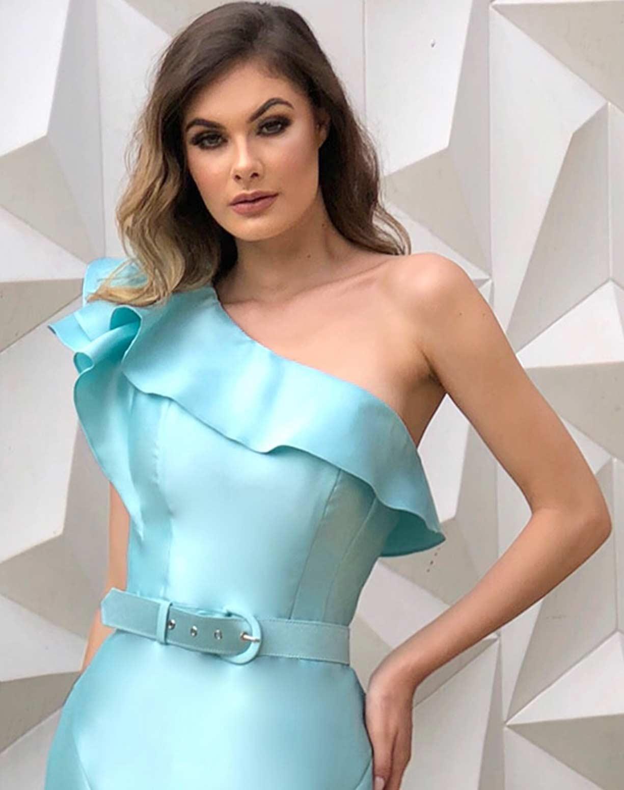 Vestido Sereia Tiffany em Zibeline de um Ombro Só