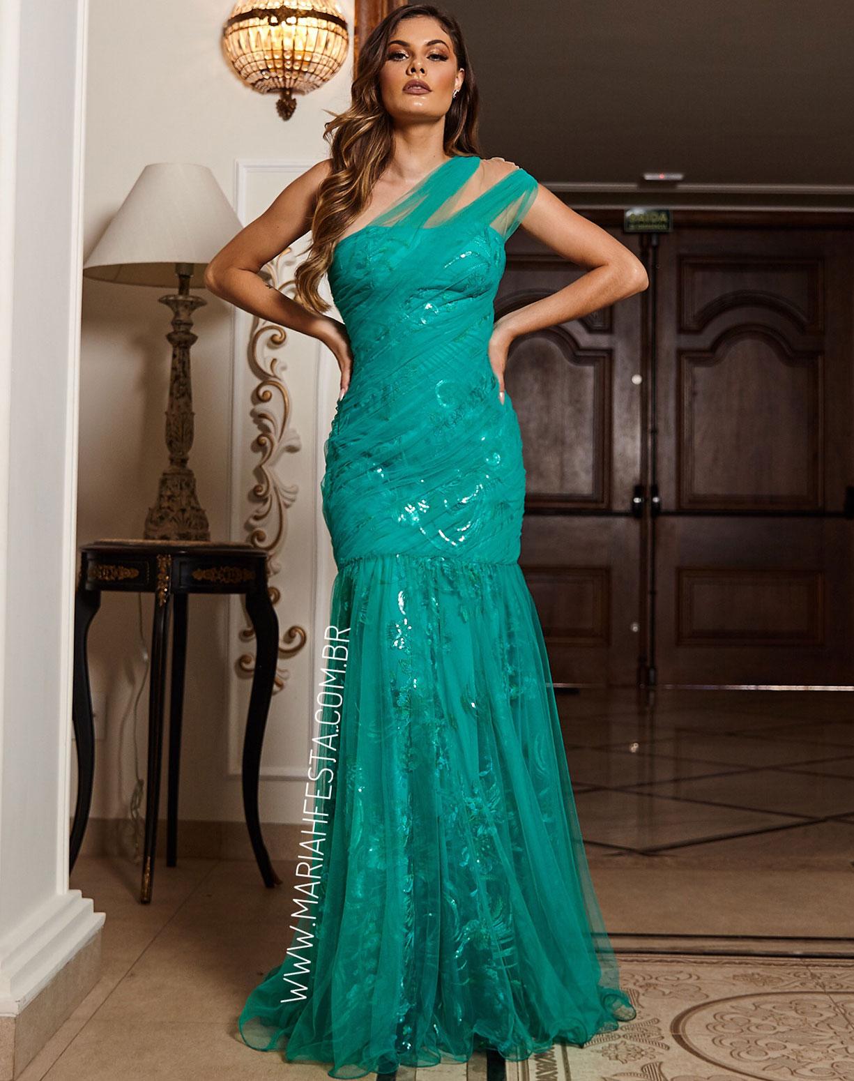 Vestido Sereia Verde de um Ombro Só em Tule e Renda