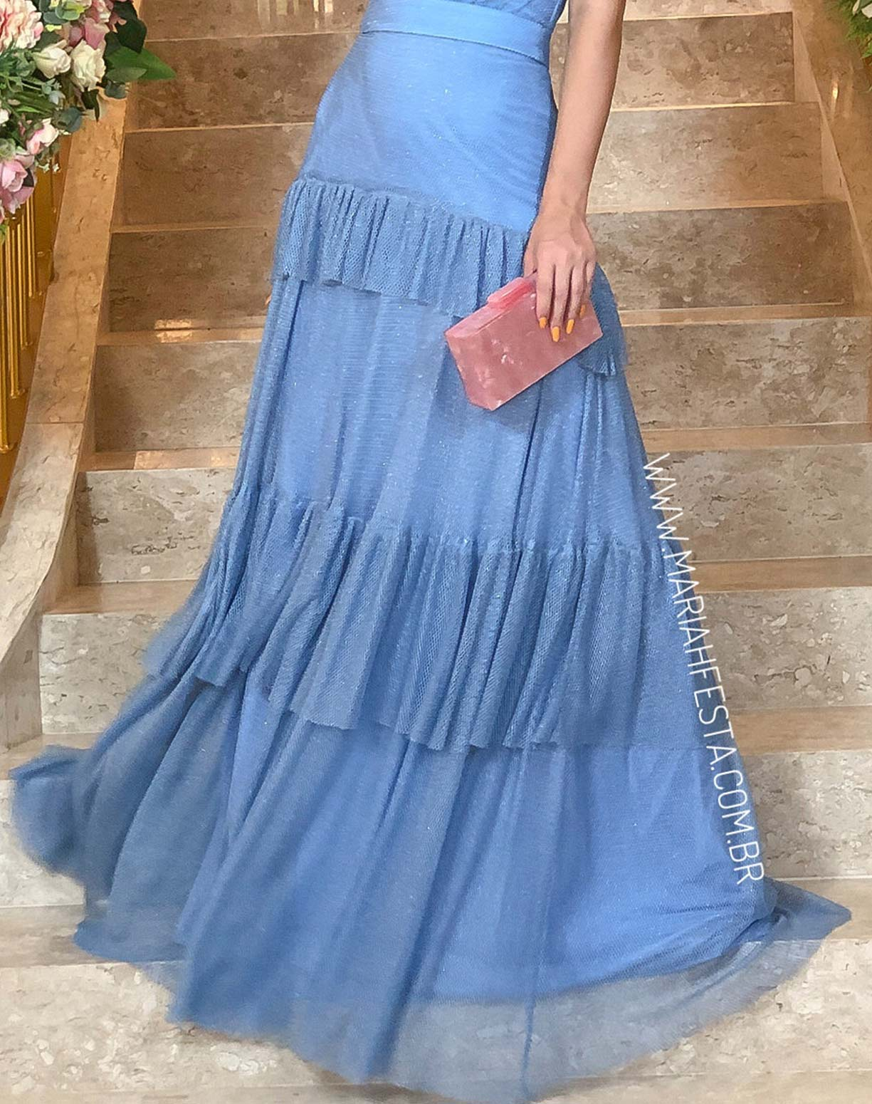 Vestido Azul Serenity em Tule Tela com Glitter