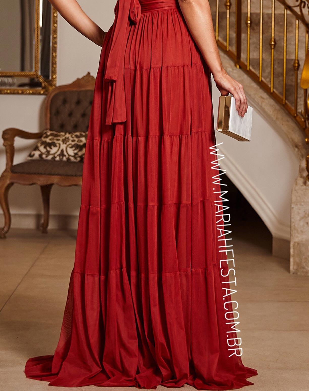 Vestido Terracota (avermelhado) em Tule com Alças Transpassadas