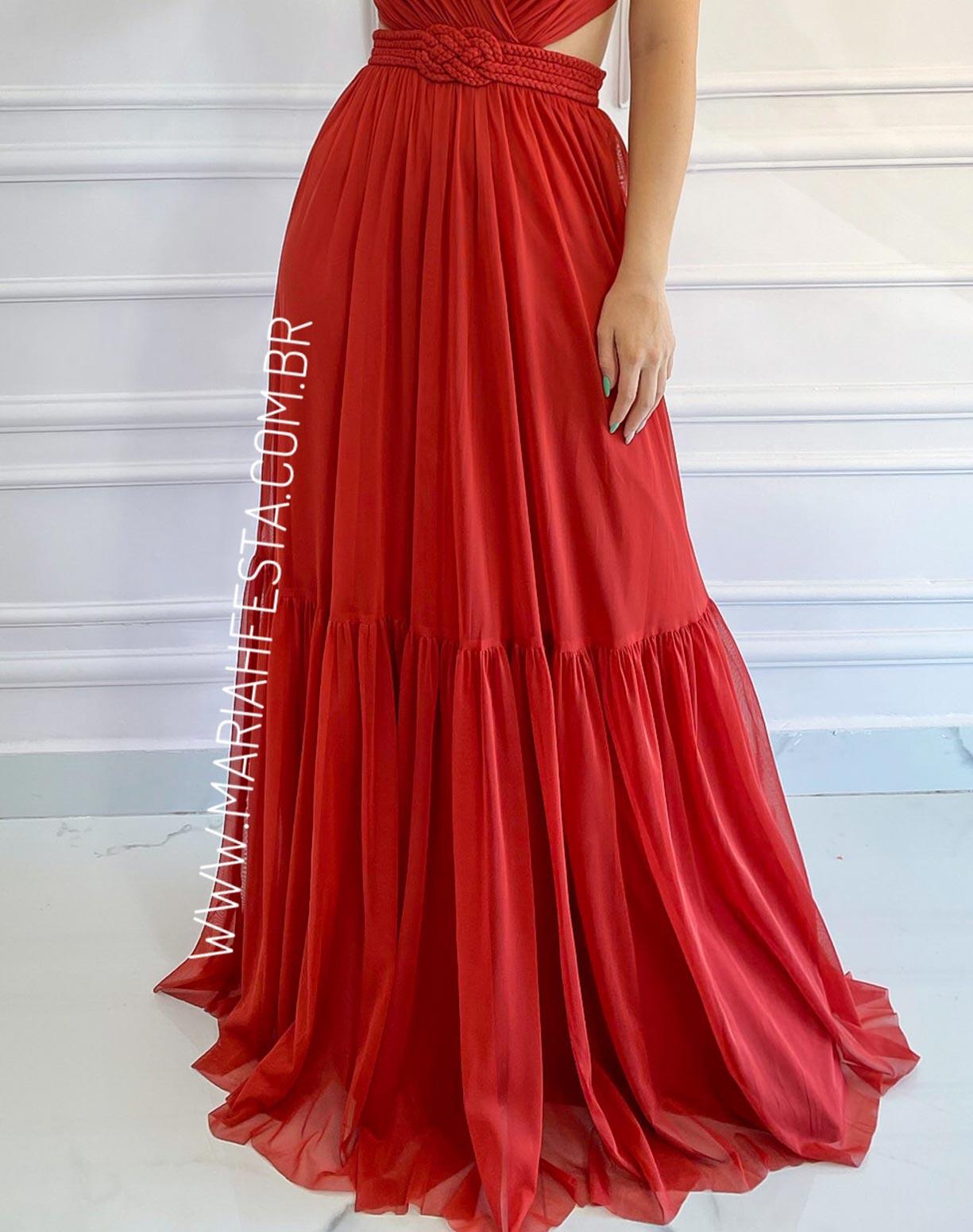 Vestido Terracota (avermelhado)  em Tule com Cinto em Macramê