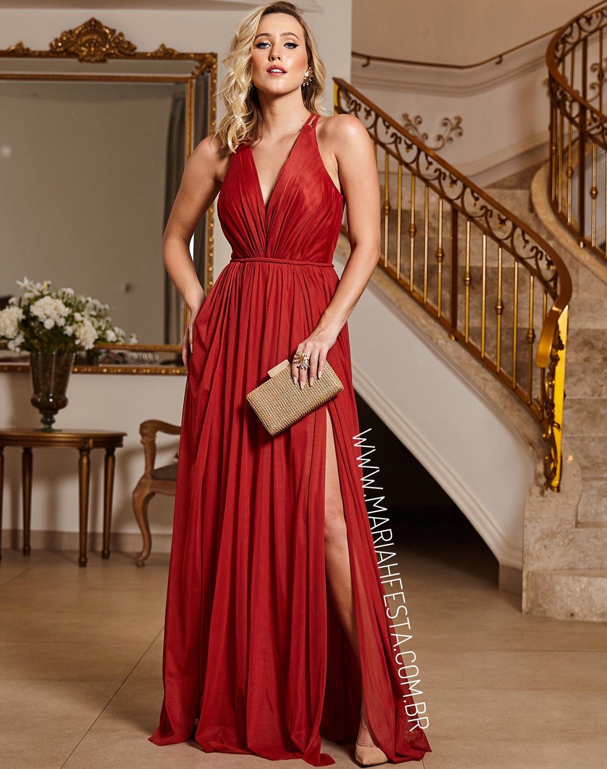 Vestido Terracota (avermelhado) em Tule com Duas Fendas